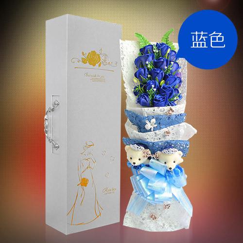 肥皂花:19朵蓝色香皂花礼盒