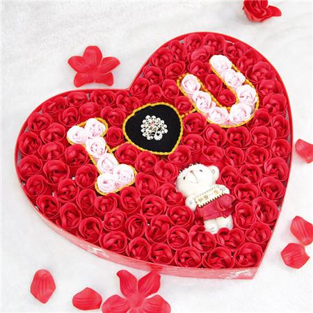 南京肥皂花:100朵浪漫IU小熊戒指红色