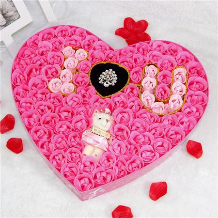 南京肥皂花:100朵浪漫IU小熊戒指粉色