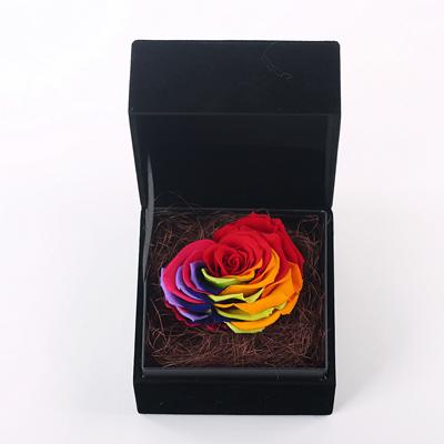 永生花:黑色礼盒 心形七彩玫瑰