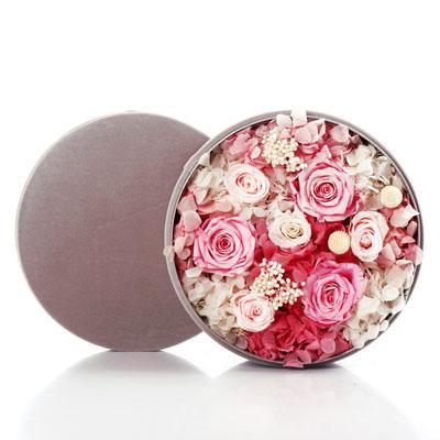 南京永生花:圆形绒布礼盒 粉色