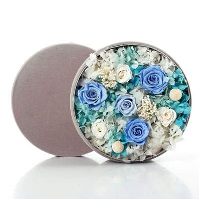 南京永生花:圆形绒布礼盒 蓝色