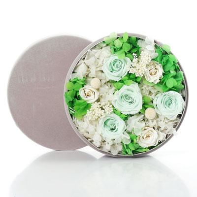 南京永生花:圆形绒布礼盒 绿色