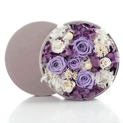 南京永生花:圆形绒布礼盒 紫色